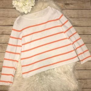 Eileen Fisher Orange & White Stripe Linen Sweater